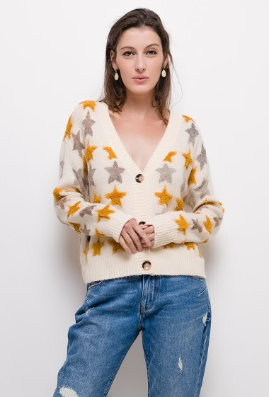 Cardigan with button and stars,The model measures 178cm, one size corresponds to 10/12(UK) 38/40(FR). Length:55cm