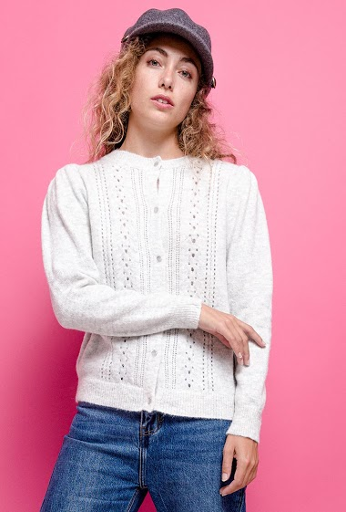 Perforated cardigan. The model measures 171 cm, one size corresponds to 10/12(UK) 38/40(FR). Length:58cm