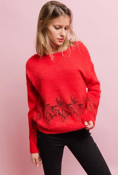 Feminine sweater, soft touch, lace. The model measures 172cm, one size corresponds to 10/12(UK) 38/40(FR). Length:60cm
