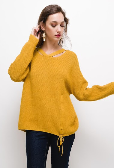Shiny sweater with lurex, The model measures 177cm, one size corresponds to 10/12(UK) 38/40(FR). Length:65cm