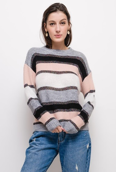 Striped shiny sweater,The model measures 178cm, one size corresponds to 10/12(UK) 38/40(FR). Length:60cm