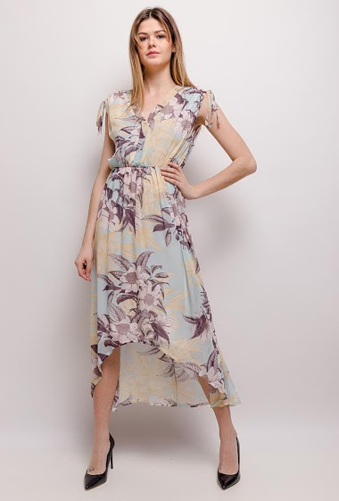 Dress with printed flowers, open back. The model measures 171cm and wears S