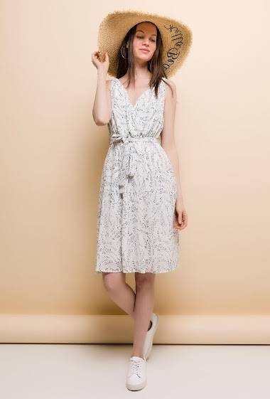 Wrap sleeveless dress, printed flowers. The model measures 177cm and wears S. Length:100cm