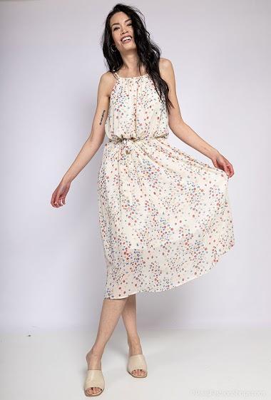 Robe à imprimé fleurs, bretelles. La mannequin mesure 182cm et porte du S. Longueur:132cm