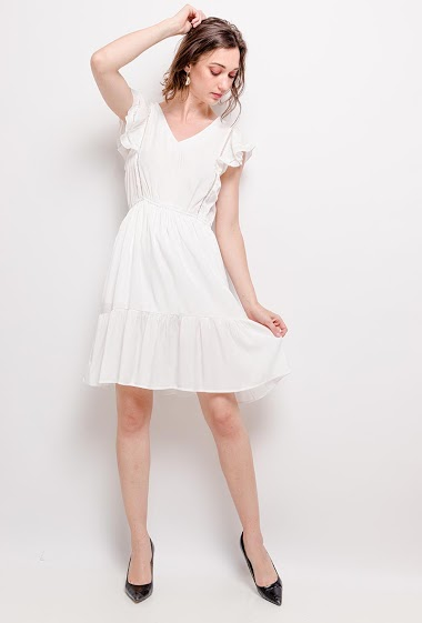 Ruffled soft dress. The model measures 177cm and wears S. Length: 95cm