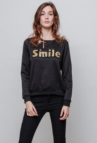 Fleece sweatshirt, SMILE with sequins, fancy collar, casual fit. The model measures 177cm and wears S