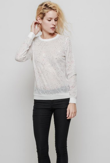 Casual t-shirt with shiny print with lurex, long sleeves, slighlty transparentfabric. The mannequin measures 177 cm and wears S