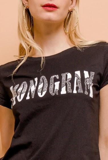 M&G MONOGRAM monogram t-shirt with rhinestones CIFA FASHION