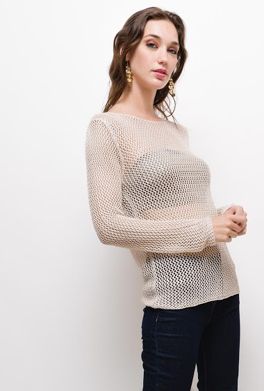 Perforated top with lurex, The model measures 177cm, one size corresponds to 10/12(UK) 38/40(FR). Length:65cm