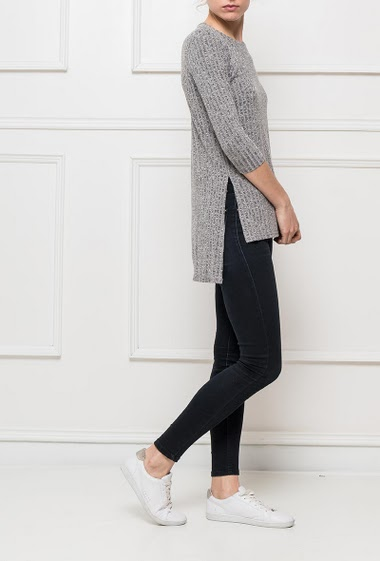 Ribbed top with slit on the sides, S=T38