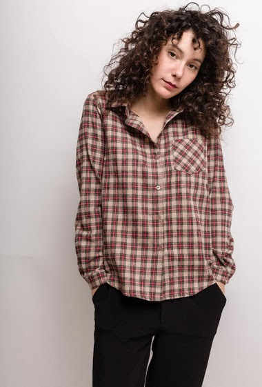 Check shirt. The model measures 178cm and wears S/M. Length:65cm