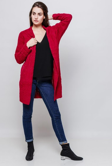 Open cardigan, soft knit, velvet effect. The model measures 177cm, one size corresponds to 38-40