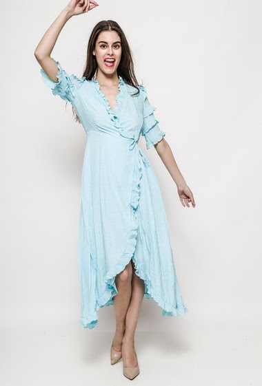 Maxi wrap dress, ruffles, cross fit. The model measures 176cm and wears S. Length:126cm