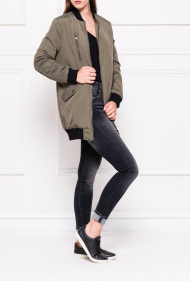 Long bomber jacket with pockets.