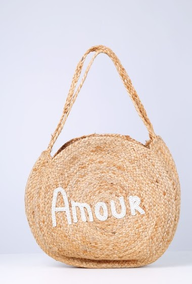 Large round basket in burlap with