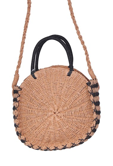 Round basket bag with long handle and raffia wrist, cotton lining and zipper.