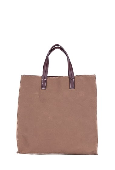 Two-tone tote with leather effect, metallic details side