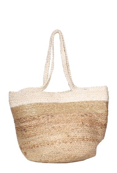 MOGANO tricolor burlap tote with metallic details CIFA FASHION