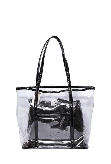 Cabas transparent, avec un double sac en canvas à l'intérieur. Peut s'utiliser à part.