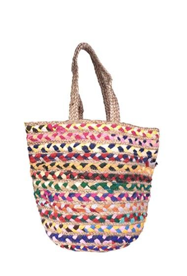 Grand sac en jute tressé multicolore (37*12*37).  Fabrication artisanale, les couleurs des torsades peuvent varier d'un article à l'autre.