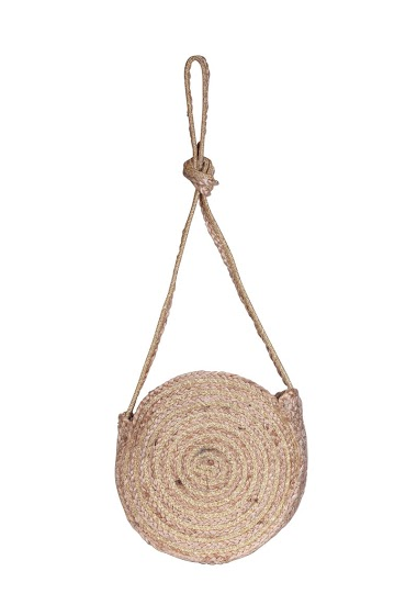 round basket in burlap, handcrafted in India, magnetic closure  ( 25*8*25cm).