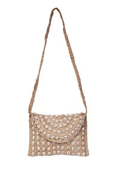 Burlap clutch with embroidered shells on the front,carried by hand and over the shoulder, dimensions 30 * 2 * 20cm
