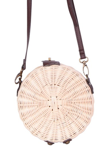 Round wicker bag with shoulder strap in synthetic leather and cotton lining (18x8x18cm)