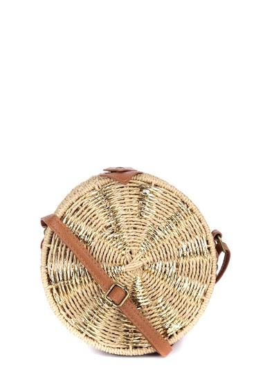 Sac mallette à bandoulière en raphia, anse réglable longue pour porter en travers, fermeture style coffre (dim 18*7*16cm)
