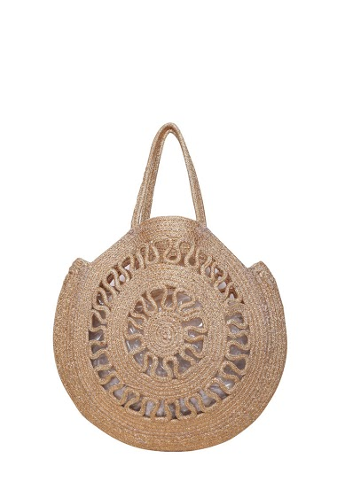 Openwork bag in burlap embroidered with gold or silver metallic thread, handmade, dimensions: 39 * 1 * 39cm