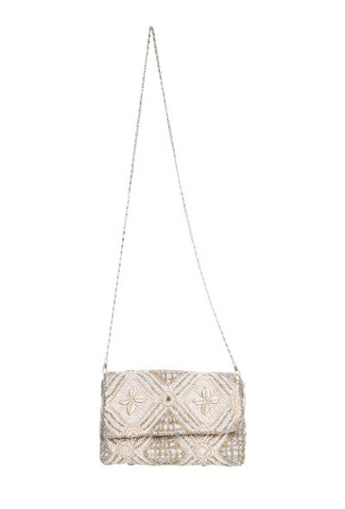 Cotton bag, embroidered with pearls and shells
