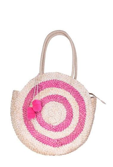 Large shoulder bag made from corn cob and colorful pompons, dimensions 38x8x38 cm