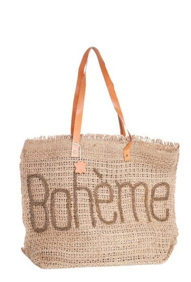 Burlap bag, lined and leather handles,beaded inscription, dim 52 * 16 * 43cm