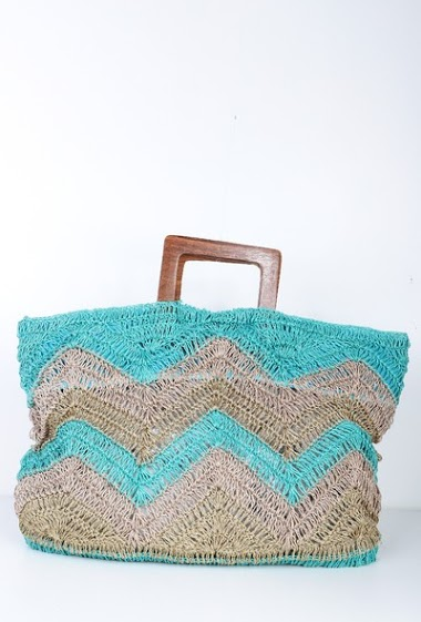 Tricolor burlap bag ,wood handle, dim 52*2*35cm , handmade