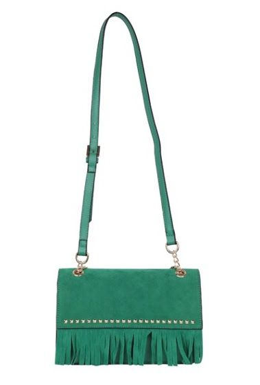 Suede fringed bag and studded flap,worn crossbody, dim 25x8x17cm