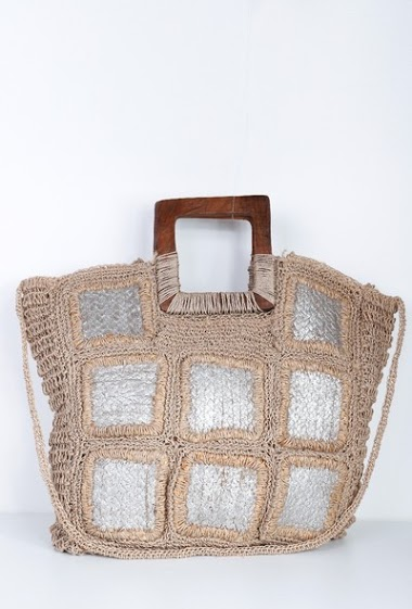 MOGANO burlap bag, carried on the shoulder or carried by hand with wooden handle CIFA FASHION