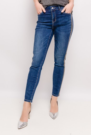 Jeans with side stripes strass