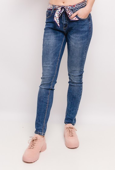 Jeans with scarf belt