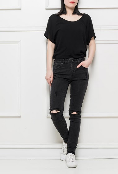 Stretch jeans with ripped knees, slim fit