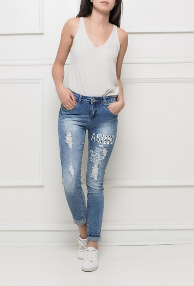 Faded jeans with print and strass, rips, skinny fit