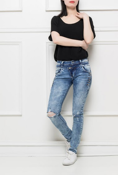 Jeans with double waist, ripped jeans, fancy strass, slim fit, stretch fabric