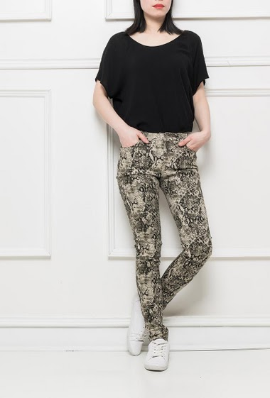 Trousers with python pattern, stretch fabric, slim fit