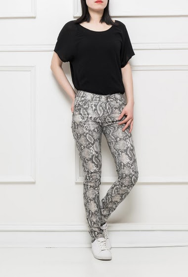 Trousers with snake skin pattern, stretch fabric, slim fit