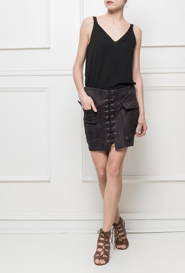 Lace-up skirt with pockets, zip back closure
