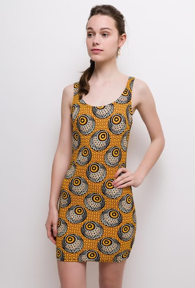 Sleeveless stretch dress. The model measures 175cm and wears S. Length:85cm