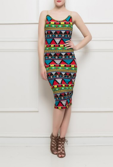 Dress with chain straps, aztec fabric, close fit