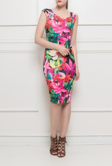Midi dress, short sleeves, printed flowers, close fit
