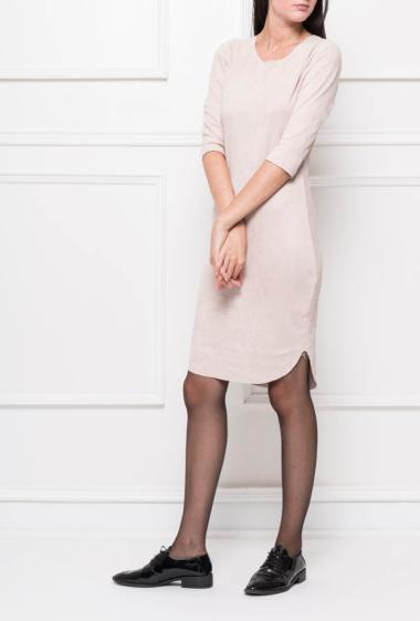 Suede dress with three-quarter sleeves