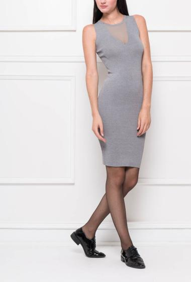 Sleeveless dress in knit with transparent neckline, fitted at the waist