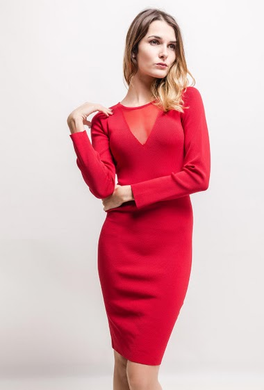 Knit dress, long sleeves, transparent detail. The model measures 170cm, one size corresponds to 10/12(UK) 38/40(FR)