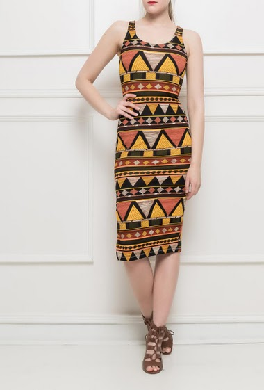 Sleeveless dress with ethnic pattern, side slit, close fit